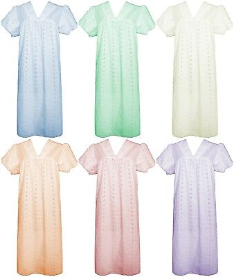 New Ladies Traditional Broderie Anglaise V Neck Short Sleeve Nighty Night Dress • 9.95£