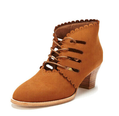 £17.97 • Buy F-Troupe Cutout Tan Leather Bootie W/Scallops Lace Up Sz 40