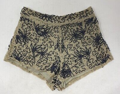 £5.99 • Buy Topshop Moto Brown Beaded Hot-PantsShorts 8 Festival Holiday Party Club Lace