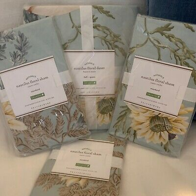 $280.78 • Buy Pottery Barn 4Pc ~NAUTILUS FLORAL~ F/Q  DUVET & 3 SHAMS Nautical BEACH Lilly