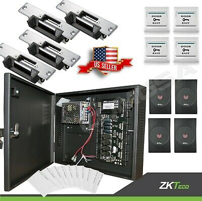 AU614.80 • Buy 4 Doors ZK C3 400 Access Control Ip Door Entry System,  Strike Lock, Zkteco. USA