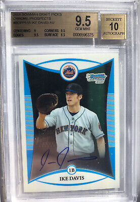 $15 • Buy 2008 Bowman Chrome Draft Ike Davis Rc Autograph BGS 9.5 W/10 Auto BDPP116