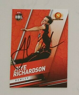 AU5.62 • Buy JHYE RICHARDSON CRICKET SIGNED IN PERSON Tap N Play BBL CARD  BUY GENUINE