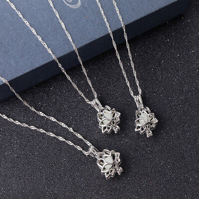 $ CDN2.03 • Buy Tiny Glow In The Dark Lotus Flower Wishing Wish Bottle Necklace Pendant Shan