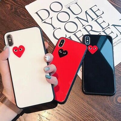 For IPhone X XS Max 8 6s 7 Plus Cute Luxury Love Heart Tempered Glass Back Case • 2.99£