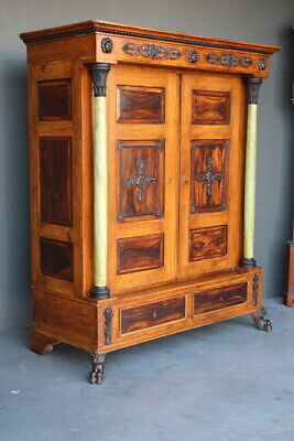 AU3350 • Buy Rare Signed Antique Provincial Farmhouse Wardrobe Hand Painted Pine Armoire 1820