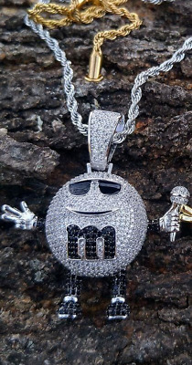 $27.60 • Buy M&M Lab Iced Out Pendant Diamond Silver 14k Chain UK SELLER