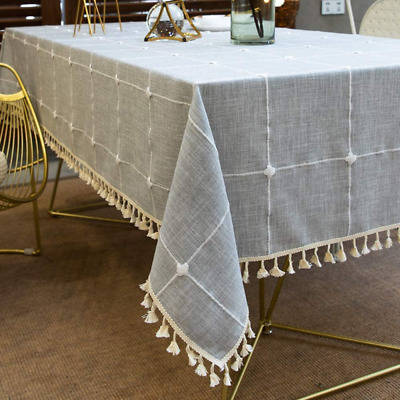 Vedouci Square Stitching Tassel Tablecloth Heavy Weight Cotton Linen Fabric Dust • 16.46£