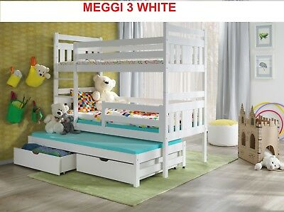 Bunk Bed Childrens Wooden Triple Or Double Sleeper With Storage Mattresses New • 469£