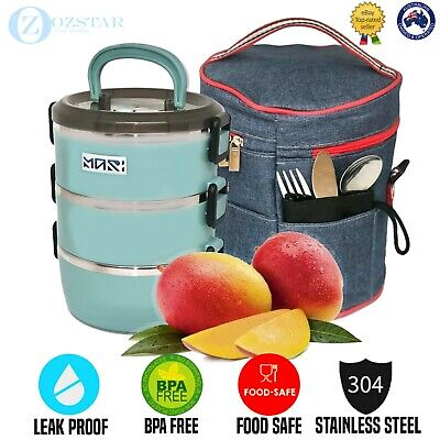 AU55.99 • Buy Thermal Insulated Lunch Box 3 Layers Bento Box Stainless Steel Food Container AU