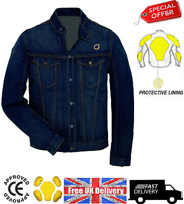 Motorcycle Motorbike Denim Jeans Jacket Protective Lining Removable CE Armour  • 38.99£