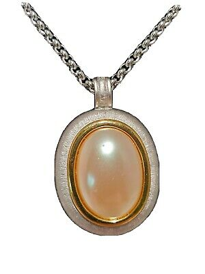 $24.49 • Buy Vintage Monet Necklace 2  Mabe Pearl Oval Pendant Long Gold  STATEMENT Formal