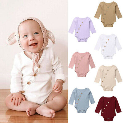 AU14.13 • Buy Toddler Baby Kids Girls Boys Long Sleeve Solid Romper Bodysuit Casual Clothes