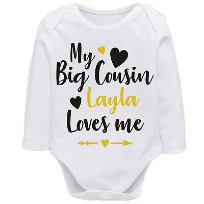 Personalised My Cousin Loves Me Babygrow Playsuit Vest, Unisex Baby Gift Idea  • 5.99£