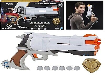 AU119 • Buy Nerf Rival Overwatch McCree Blaster Die Cast Badge 6 Rounds 14+ Toy Gun Fire