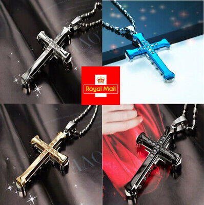 New Stainless Steel Cross Bamboo Joint Necklace Crystal Pendant Chain UK Seller • 2.19£