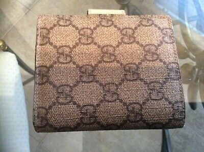 $129 • Buy GUCCI GG Beige  Canvas/Leather Clutch/Wallet Very Rare Vintage