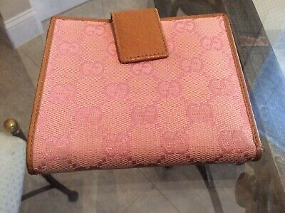 $159 • Buy GUCCI GG Pink/Beige Leather/canvas Clutch/Wallet Very Rare Vintage