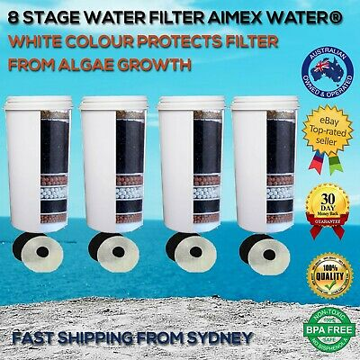 AU70 • Buy 8 Stage White Aimex Water ® Filter Aimex KDF Charcoal Ceramic BPA Free  4 Pack