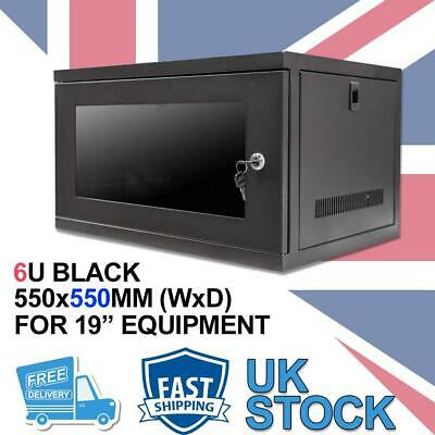 6U 19  550MM Network Cabinet Data Comms Wall Rack For Patch Panel, Switch, PDU • 64.99£