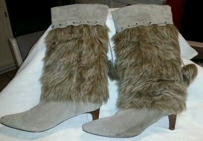 $12.99 • Buy NaNa Tan Leather Mid Calf Boots Faux Fur Pull On Heels Women  Size 8