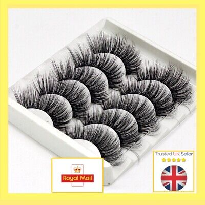 5Pair 3D Mink False Eyelashes Full Volume Wispy FluffyLong Lashes Cruelty Free#1 • 3.78£