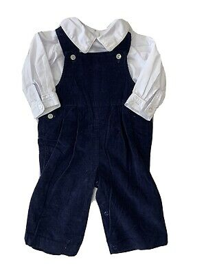 $15 • Buy Zuccini Boys 6 Month Boutique Blue Corduroy Overall Outfit Collar Long Sleeve