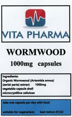 WORMWORD 1000mg 60 Capsules PARASITE CLEANSE DIGESTIVE HEALTH DETOX • 6.99£