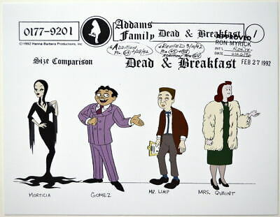 $ CDN17.61 • Buy Addams Family Dead & Breakfast MODEL SHEET - SIZE COMPARISON GOMEZ MORTICIA LIMP