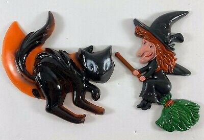 $ CDN17.58 • Buy Vintage Halloween Plastic Black Witch With Broom Cat Cake Decorations