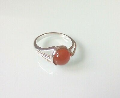 £14.70 • Buy New 925 Sterling Silver Fancy Edge Ring Set With An 8mm Carnelian Cabochon Stone