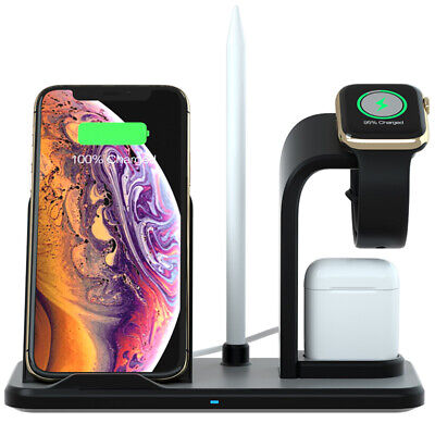 AU32.86 • Buy Qi Wireless Charger Dock Charging Stand 3in1 For IWatch 5/4/3/2/1 IPhone 11 XS 8