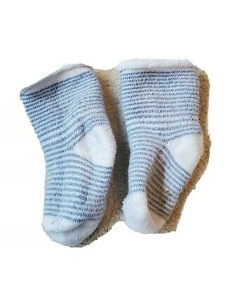 One Pair Of Socks Baby Boy Blue And White Stripe 0-6 Months • 1.80£