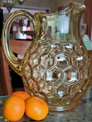 $32 • Buy Vintage Thumbprint Glass Pitcher Yellow/Amber Applied Handle Heavy
