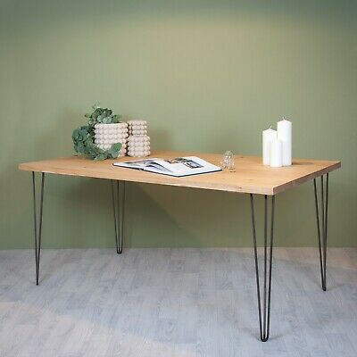 Reclaimed Wooden Scaffold Board Dining Kitchen Table Top Opt. Hairpin Legs Desk • 210£