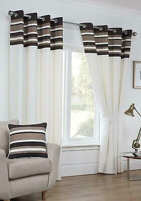 £12.99 • Buy Cambridge Chocolate Stripe Border Ready Made Lined Eyelet Curtains Pair Ring Top
