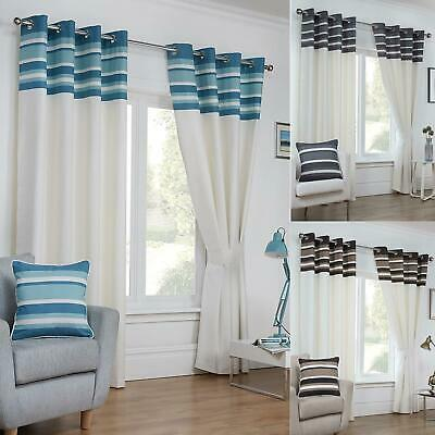 Cambridge Stripe Border Lines Curtains Set Ready Made Lined Eyelet Pair Ring Top • 19.99£