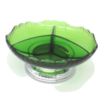 $22.48 • Buy Krome Kraft Cambridge Farber Bros Emerald Green 3 Part Relish Candy Dish Bowl