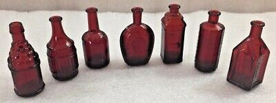 $15.99 • Buy Ruby Red Miniature Wheaton Bottles Lot Of 7 ...Ben Franklin, Root Bitters & More