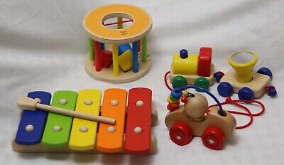 £25 • Buy Assortment Of 4 Bright Coloured Baby Wooden Toys Hape Pintoy