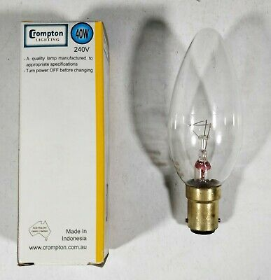 AU25.73 • Buy 1 X 40W Clear B15 Candle Shaped Light Globe Bulb Lamp Small Bayonet Incandescent