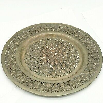 Vintage Indian Brass Wall Plaque Plate Pieced Work Pattern Well Made • 29.99£
