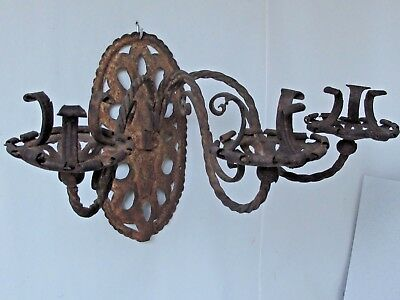 Antique Spanish Wrought Iron 3 Arm Candle Sconce • 36.83£
