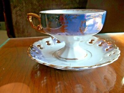 $16.99 • Buy Vintage Pedestal Cup And Reticulated Saucer Iridescent Lustreware Blue & Gold