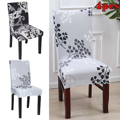 4*Dining Chair Seat Covers Spandex Slip Banquet Home Protective Stretch Covers • 5.59£