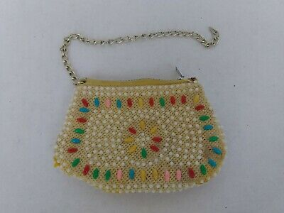 $16.99 • Buy Vintage Beaded Coin Purse Pouch Bag Child Play Zipper Yellow Geometric