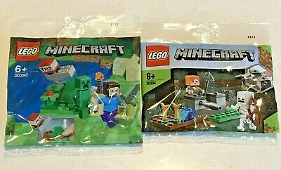 AU21.95 • Buy LEGO Minecraft COMBO. Steve And Creeper 30393 & Skeleton Defense 30394 PolyBags