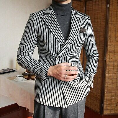 $59.42 • Buy Men Striped Blazer Suit Double-breasted Peak Lapel Formal Party Prom Tuxedos New