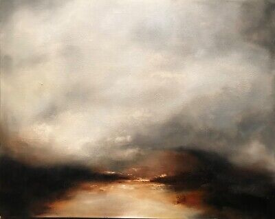 £226 • Buy Original Abstract Landscape Dartmoor Oil On Canvas Painting Atmospheric Country