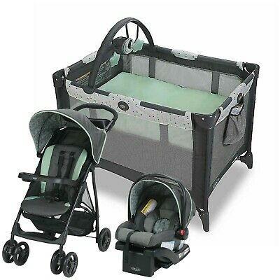 Graco Baby Stroller With Car Seat Travel System Infant Playard Crib Combo New • 230.82£